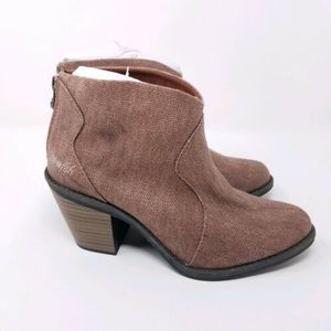Blowfish Ankle Boots 6 Booties Canvas Dusty Rose